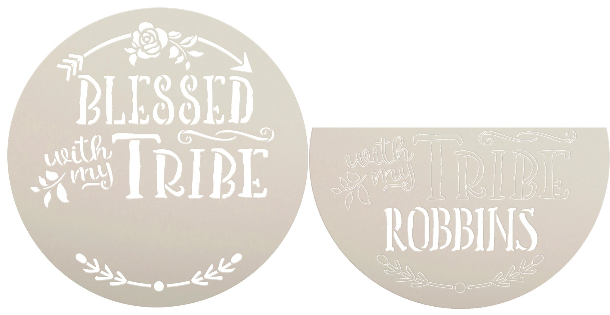 Personalized Blessed with My Tribe Stencil by StudioR12 | DIY Family Name Home Decor | Craft & Paint Boho Wood Signs | Select Size
