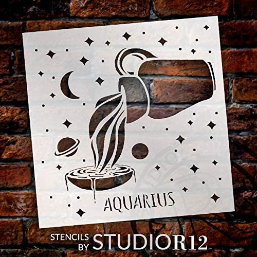 Aquarius Zodiac Stencil by StudioR12 | DIY Star Celestial Bedroom & Home Decor | Craft & Paint Astrological Wood Signs | Select Size