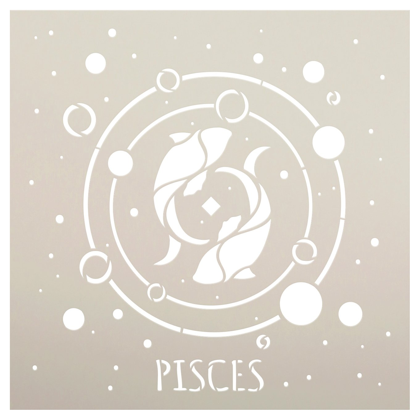 Pisces Astrological Stencil by StudioR12 | DIY Star Sign Zodiac Bedroom & Home Decor | Craft & Paint Celestial Wood Signs | Select Size