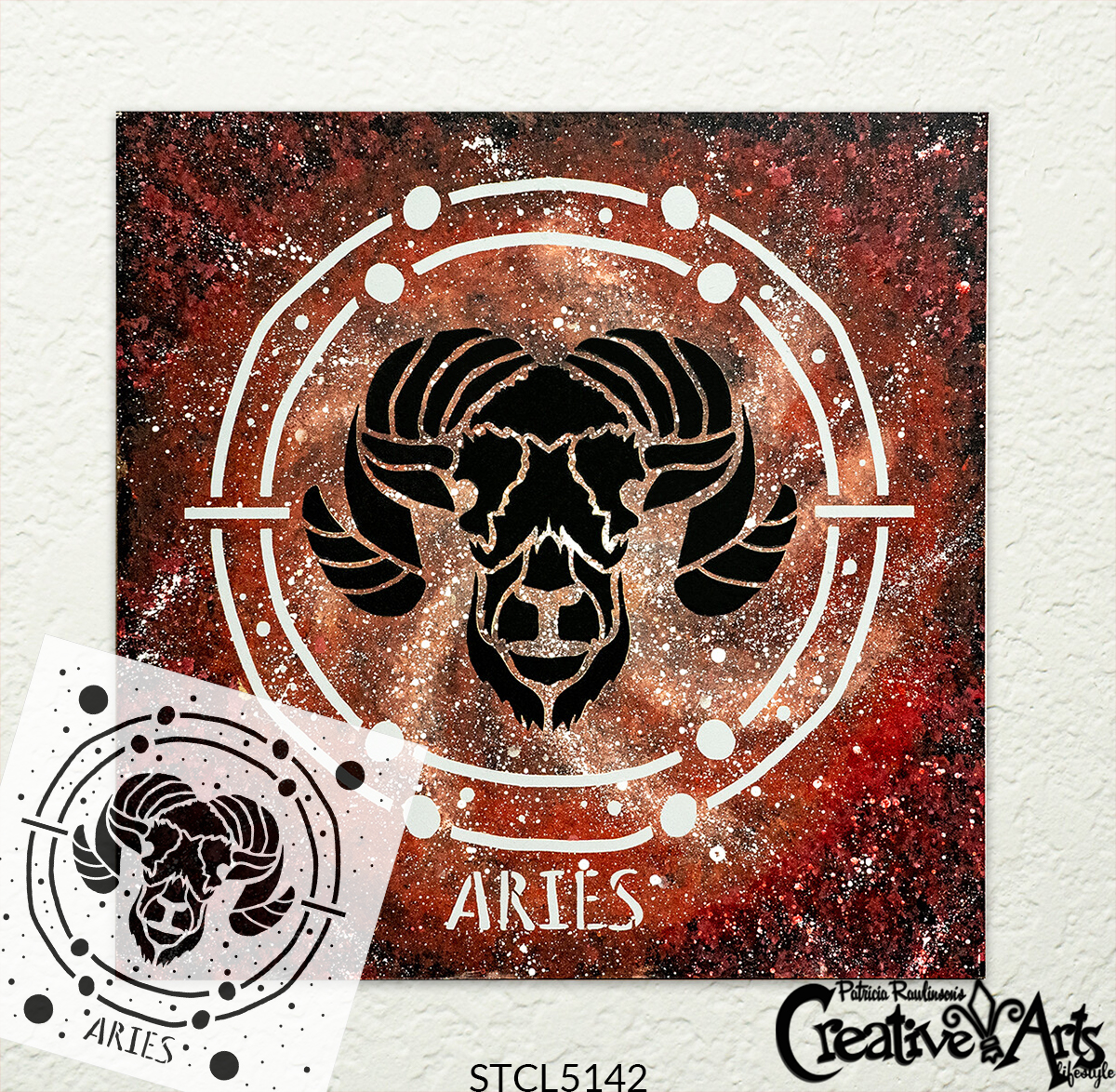 Aries Astrological Stencil by StudioR12 | DIY Star Sign Zodiac Bedroom & Home Decor | Craft & Paint Celestial Wood Signs | Select Size