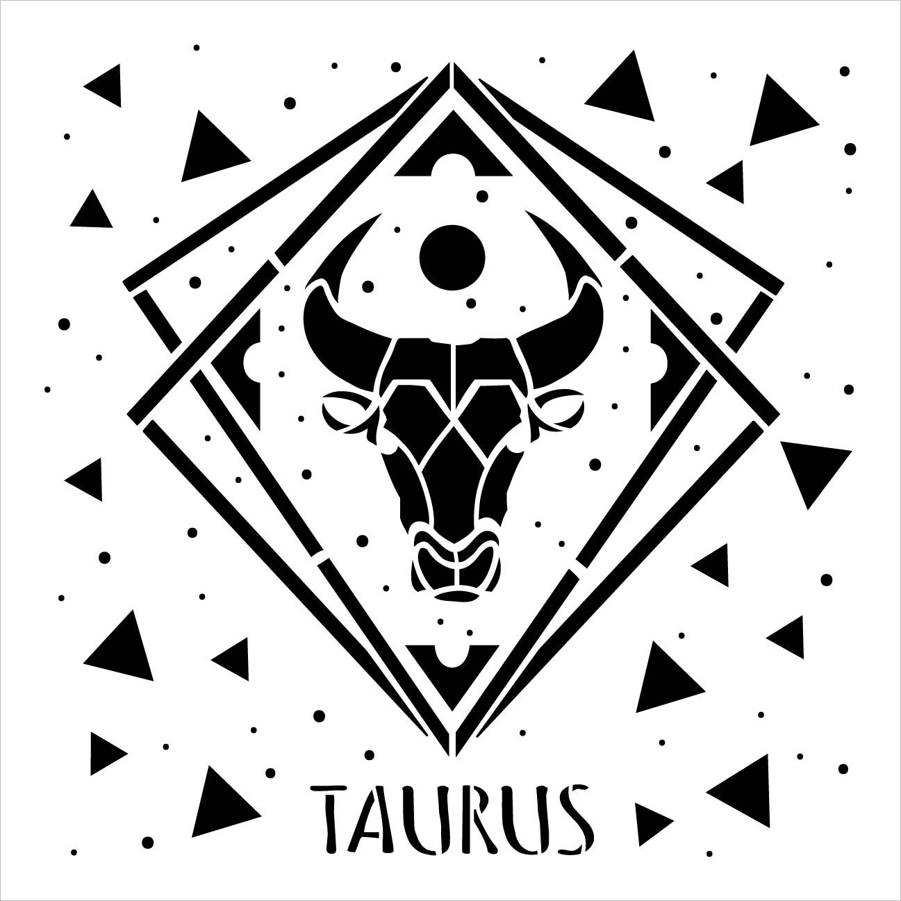 Taurus Zodiac Stencil by StudioR12 | DIY Star Sign Celestial Bedroom & Home Decor | Craft & Paint Astrological Wood Signs | Select Size