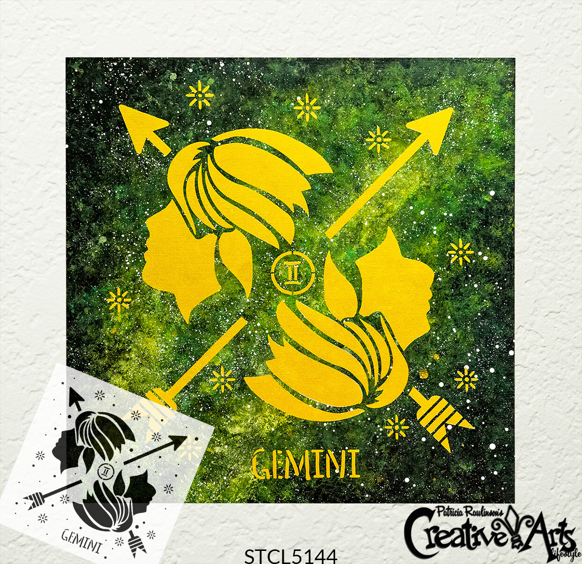 Gemini Zodiac Stencil by StudioR12 | DIY Star Sign Celestial Bedroom & Home Decor | Craft & Paint Astrological Wood Signs | Select Size