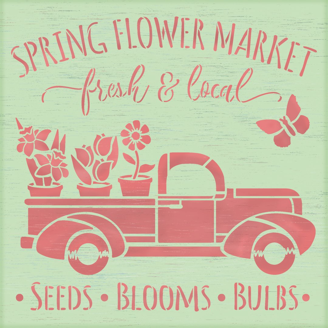 Spring Flower Market Stencil with Vintage Truck by StudioR12 | DIY Floral Farmhouse Home Decor | Craft & Paint Wood Signs | Select Size