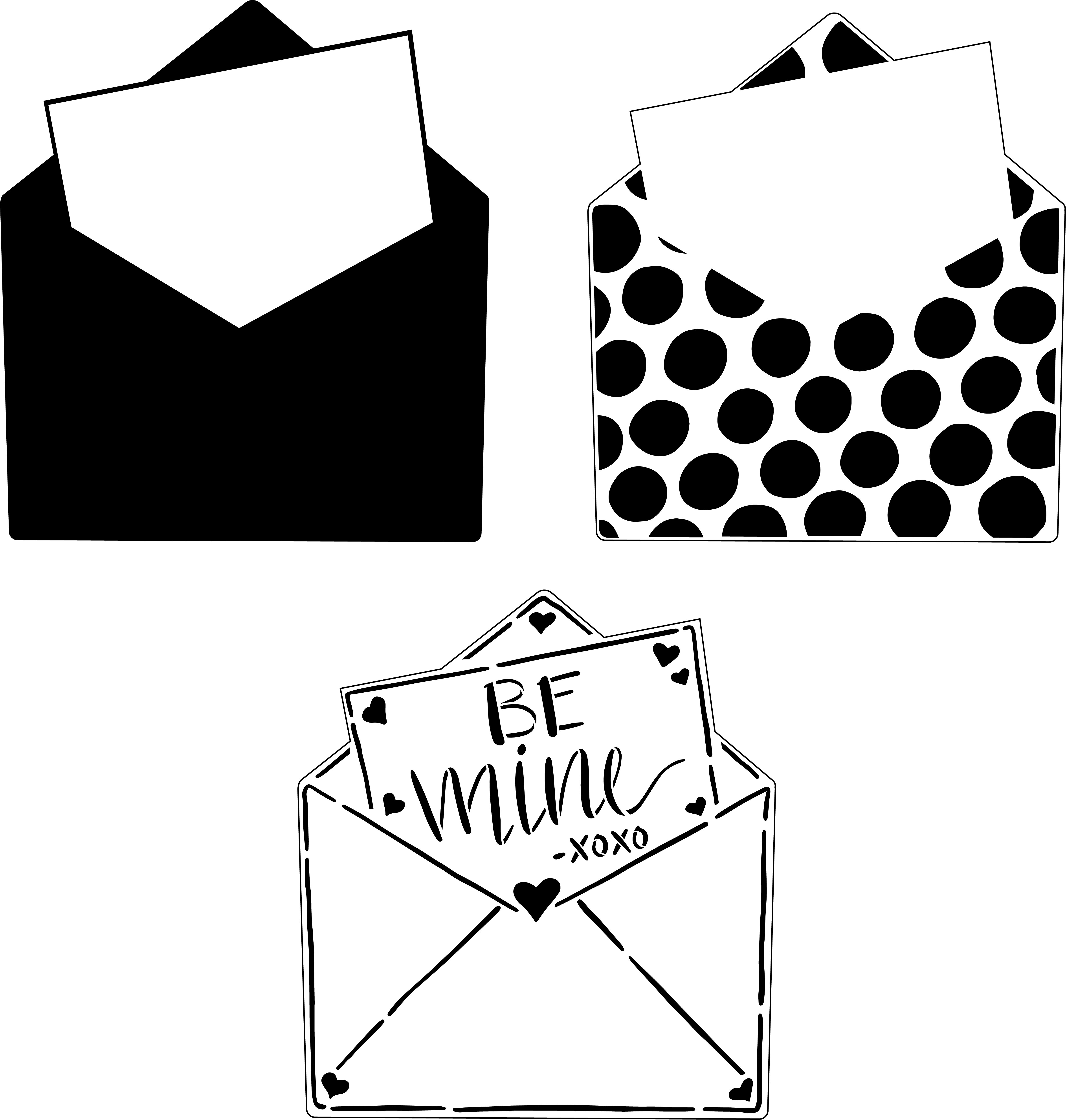 Be Mine 3-Part Envelope Stencil with Polka Dots by StudioR12 | DIY Valentine Love Letter Home Decor | Paint Wood Signs