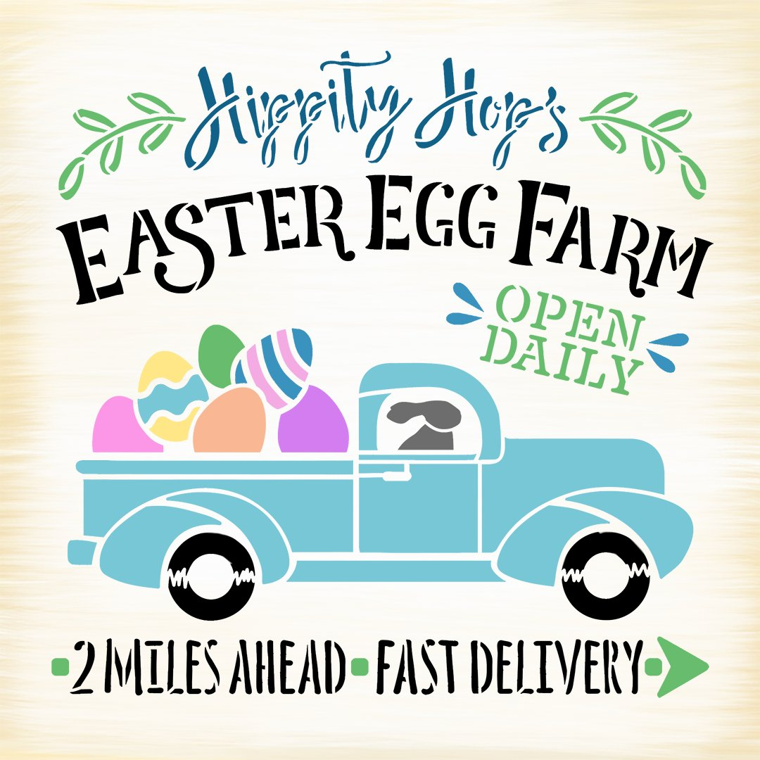 Hippity Hop's Easter Egg Farm Stencil with Vintage Truck by StudioR12   DIY Spring Farmhouse Home Decor   Paint Wood Sign   Select Size