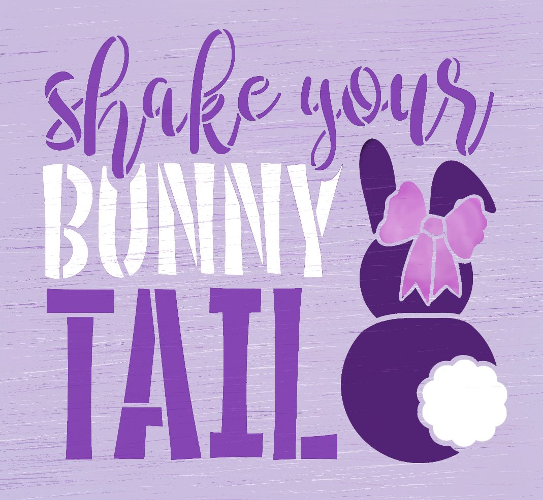 Shake Your Bunny Tail Stencil by StudioR12 | DIY Fun Easter Bunny Home Decor | Craft & Paint Spring Farmhouse Wood Signs | Select Size