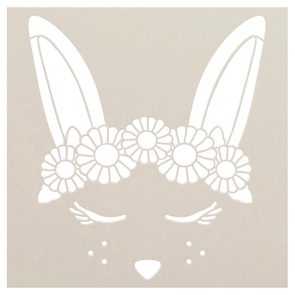 Bunny Stencil with Flower Crown by StudioR12 | DIY Cute Spring & Easter Home Decor | Craft & Paint Farmhouse Wood Signs | Select Size