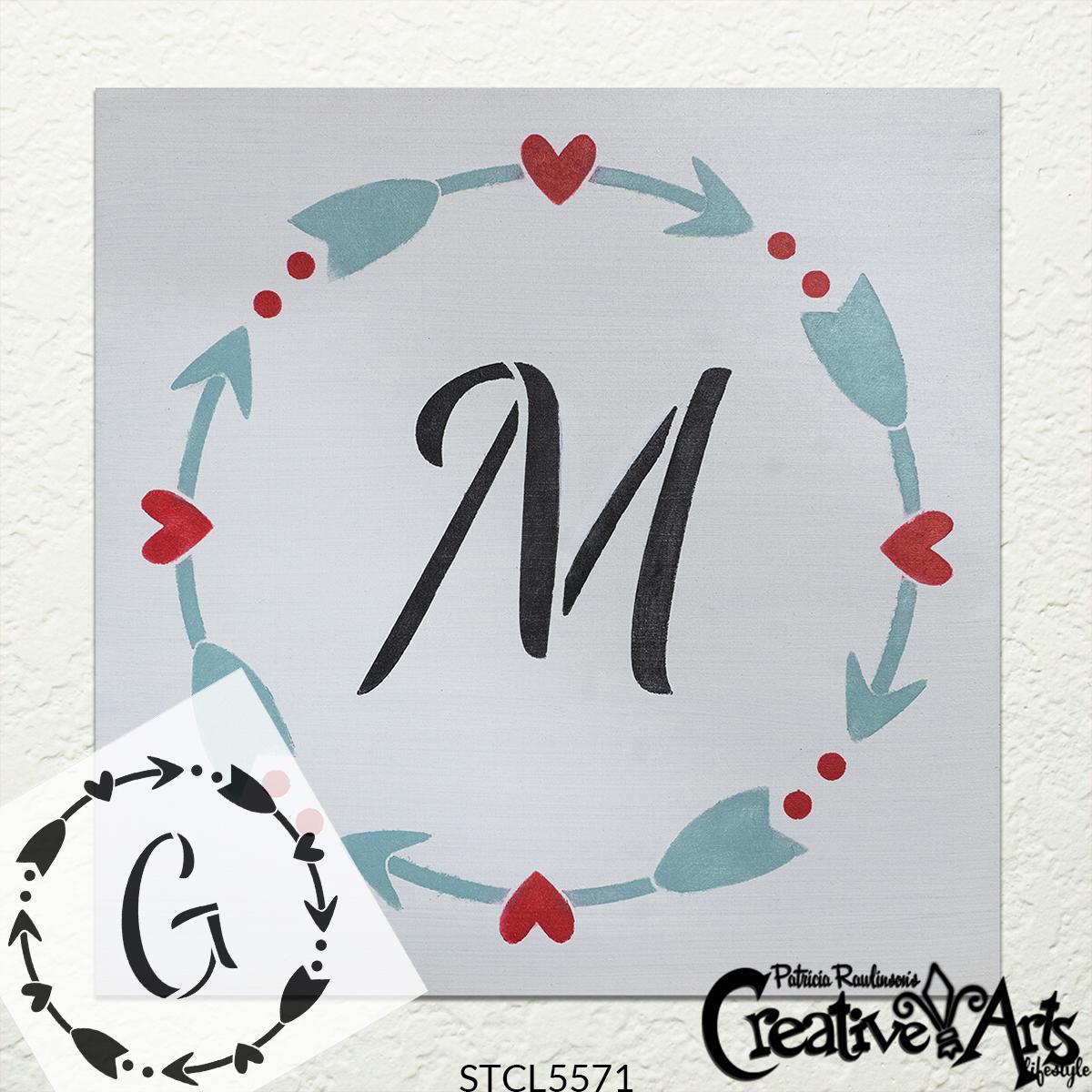 Heart & Arrow Wreath Monogram Stencil by StudioR12 | DIY Simple Valentine Farmhouse Home Decor | Craft & Paint Wood Sign | Select Size