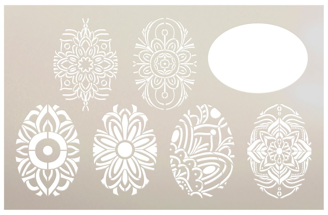 Easter Egg Pattern Stencil by StudioR12 | DIY Spring Home Decor | Cookie & Cake Template | Craft & Paint Farmhouse Wood Signs | Size (28 x 18 inch)