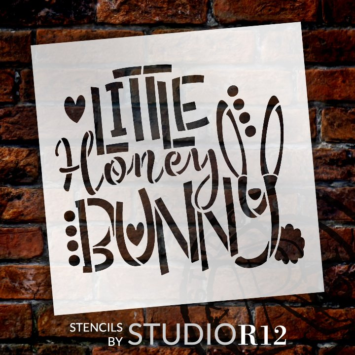 Little Honey Bunny Stencil by StudioR12 | DIY Farmhouse Spring Home Decor | Fun Easter Word Art | Craft & Paint Wood Sign | Select Size