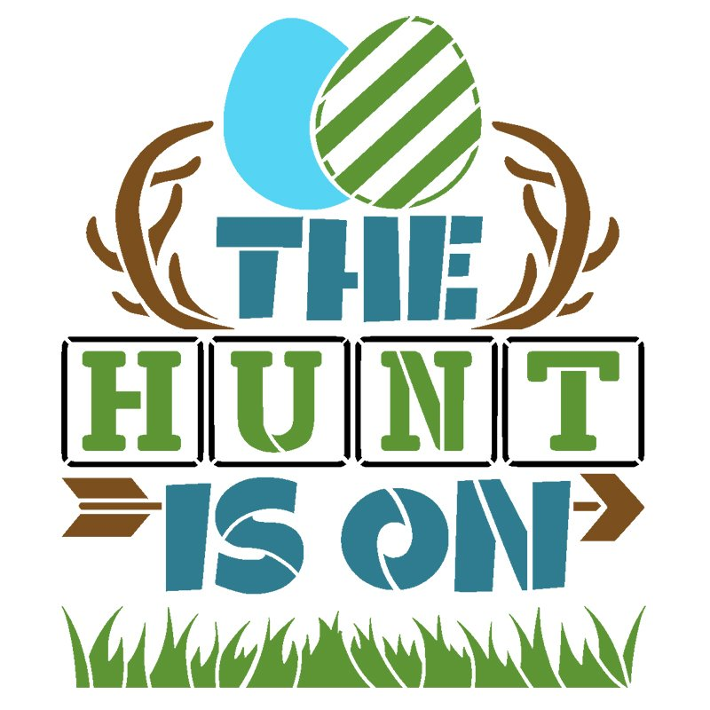 The Hunt is On Stencil with Easter Eggs by StudioR12   DIY Country Spring Home Decor   Craft & Paint Farmhouse Wood Signs   Select Size