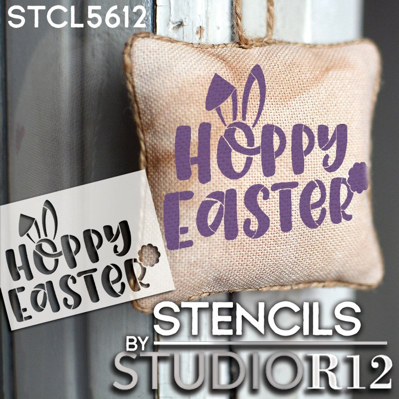 Hoppy Easter Stencil with Bunny Ears by StudioR12   DIY Fun Spring Home Decor   Craft & Paint Farmhouse Wood Signs   Select Size