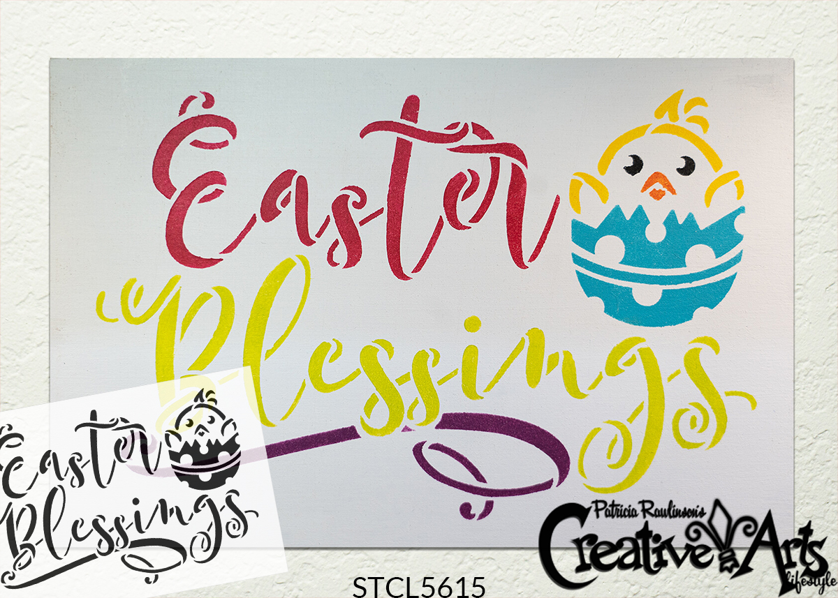 Easter Blessings Stencil with Chicks by StudioR12   DIY Spring Script Home Decor   Craft & Paint Farmhouse Wood Signs   Select Size