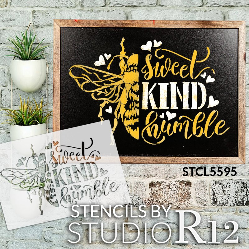 Bee Sweet, Kind, & Humble Stencil by StudioR12 | DIY Inspirational Farmhouse Home Decor | Craft & Paint Wood Signs | Select Size