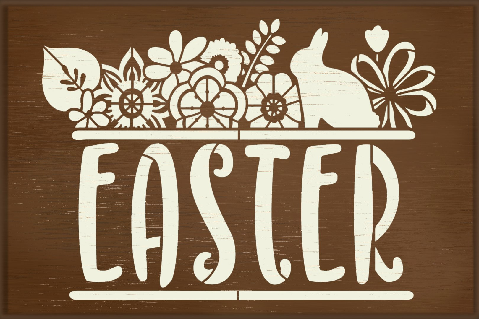 Floral Easter Stencil with Bunny by StudioR12   Spring Flower Word Art   DIY Farmhouse Home Decor   Paint Wood Signs   Select Size