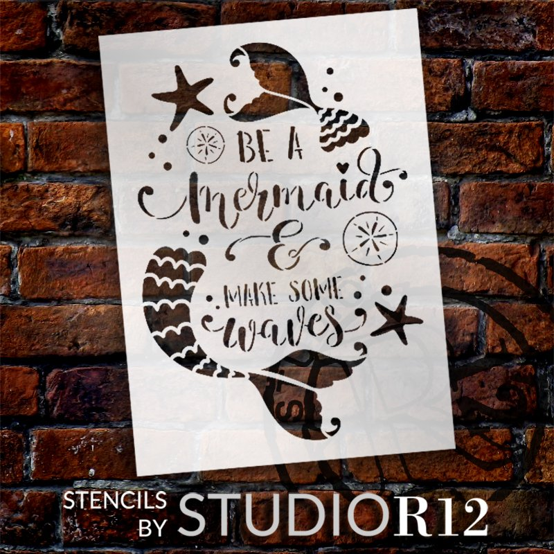 Be A Mermaid Stencil by StudioR12   Make Some Waves   DIY Girl Bedroom Home Decor   Paint Ocean & Beach Wood Signs   Select Size