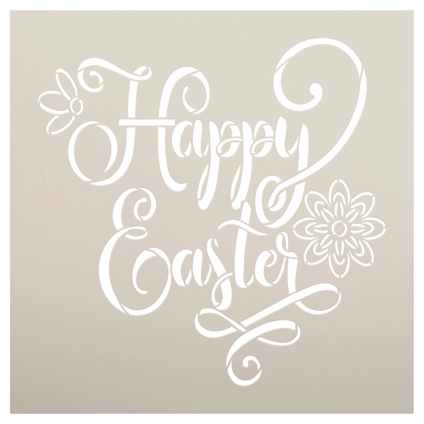 Happy Easter Script Stencil with Flower by StudioR12 | DIY Spring Floral Home Decor | Craft & Paint Farmhouse Wood Signs | Select Size
