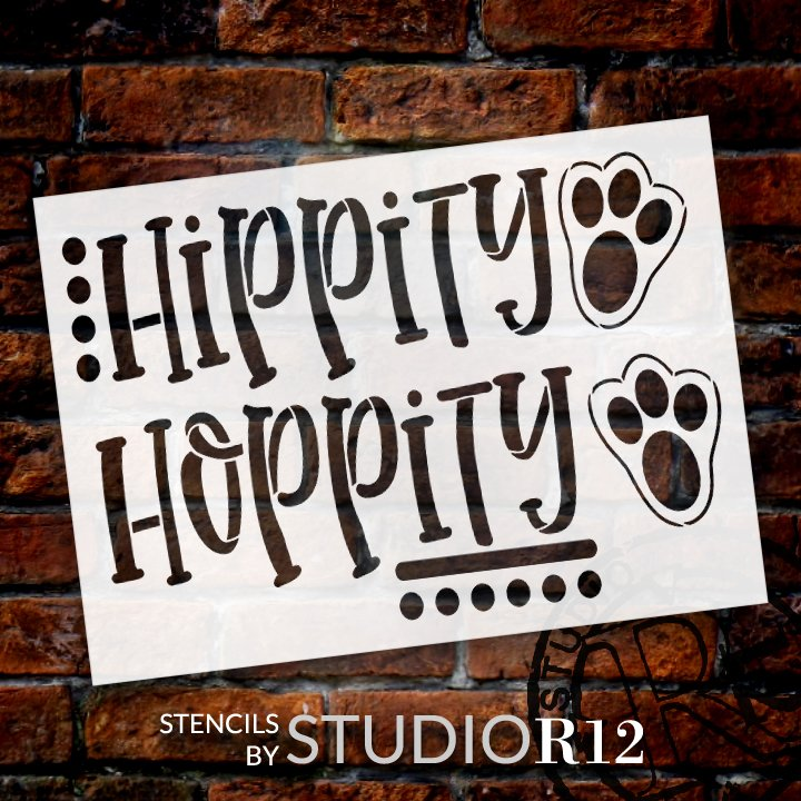 Hippity Hoppity Stencil with Paw Print by StudioR12   DIY Easter Bunny Home Decor   Paint Spring Farmhouse Wood Sign   Select Size