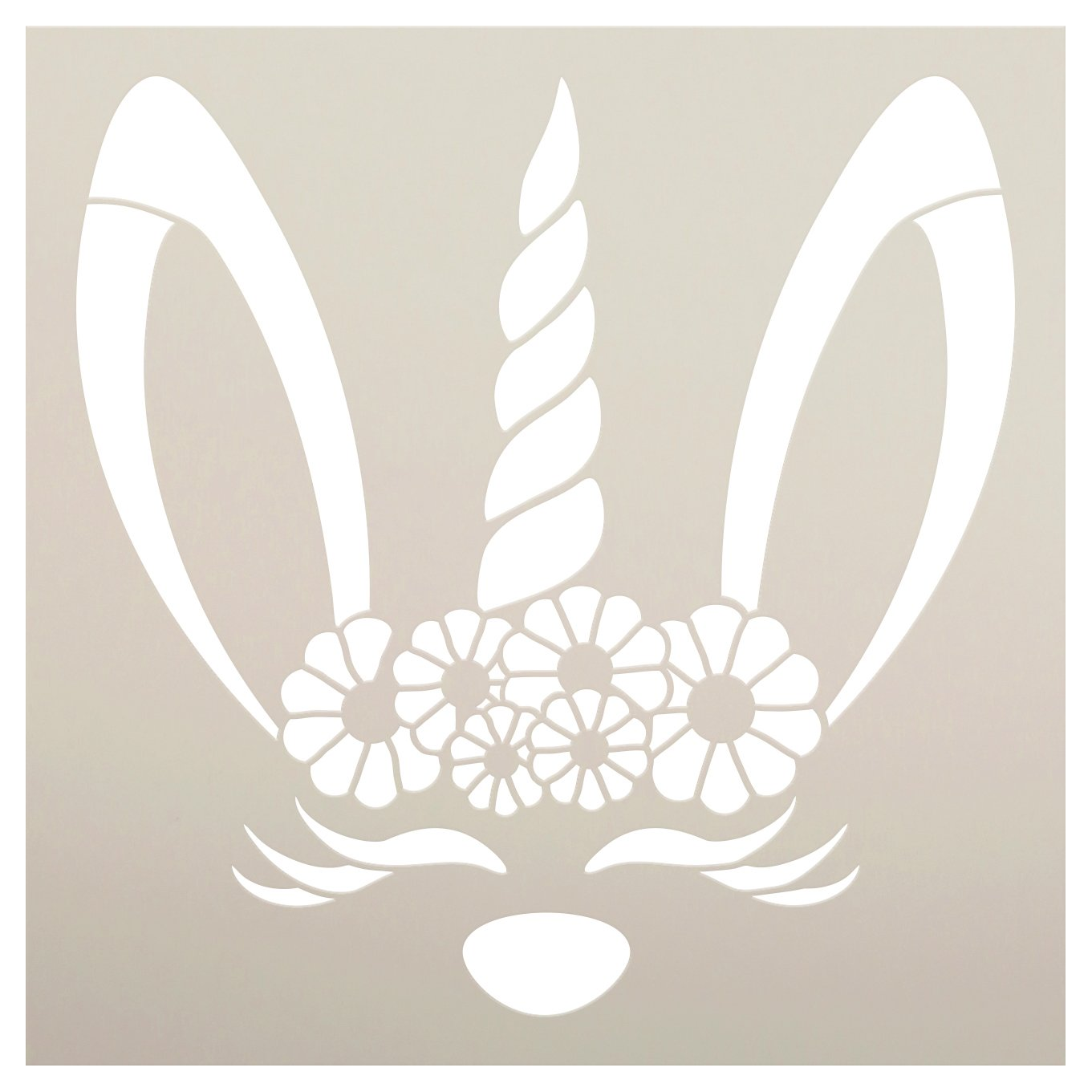 Easter Bunny Unicorn Stencil with Flower Crown by StudioR12   DIY Spring Home Decor   Craft & Paint Fun Wood Sign for Kids   Select Size