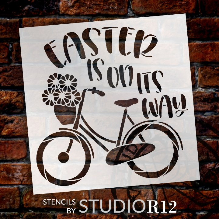 Easter is On Its Way Stencil with Bike by StudioR12   DIY Spring Floral Home Decor   Craft & Paint Farmhouse Wood Signs   Select Size