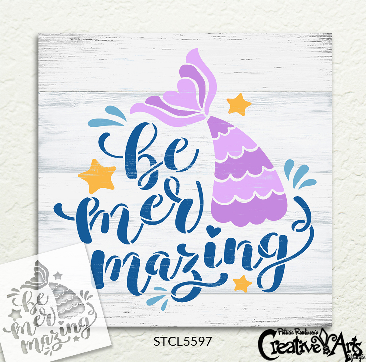 Be Mer-Mazing Stencil with Mermaid by StudioR12   DIY Little Girl Bedroom Home Decor   Craft Ocean & Beach Wood Signs   Select Size