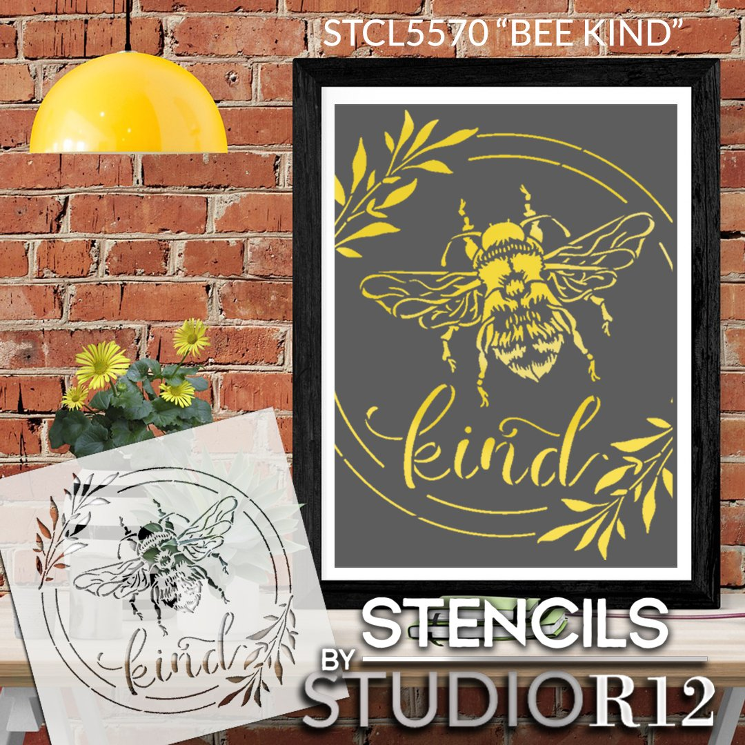 Bee Kind Stencil with Laurels by StudioR12 | DIY Spring Farmhouse Home Decor | Craft & Paint Inspirational Wood Signs | Select Size