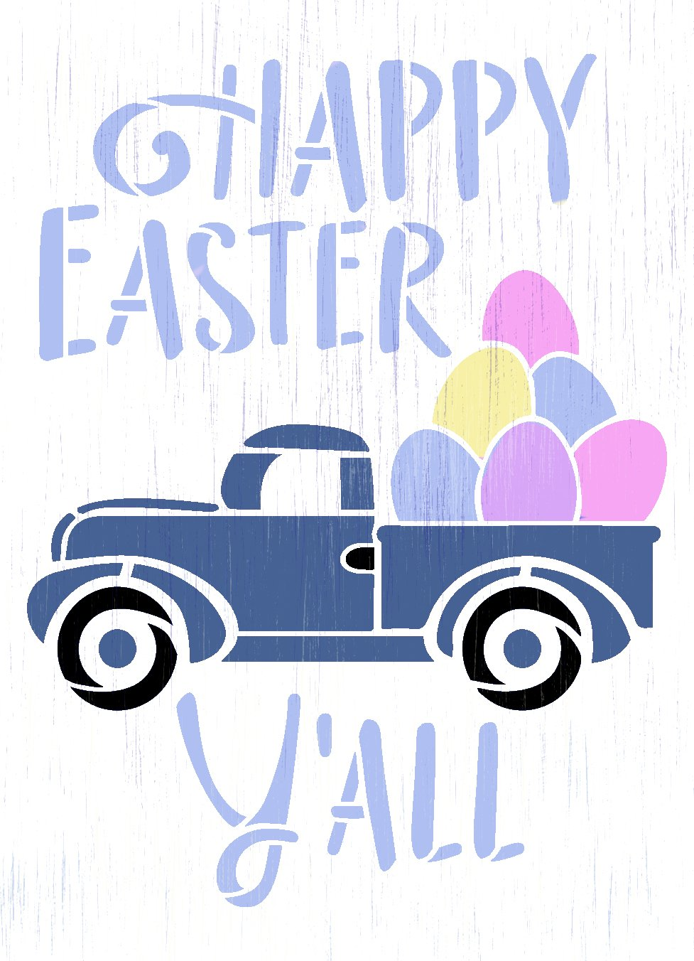 Happy Easter Y'all Stencil with Vintage Truck by StudioR12   DIY Country Spring Home Decor   Craft & Paint Wood Sign   Select Size