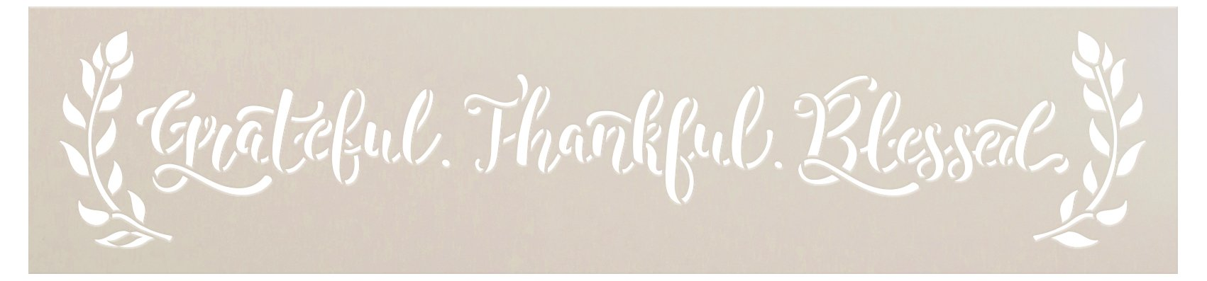 Grateful Thankful Blessed Stencil with Laurels by StudioR12 | DIY Simple Farmhouse Home Decor | Paint Wood Signs | Select Size