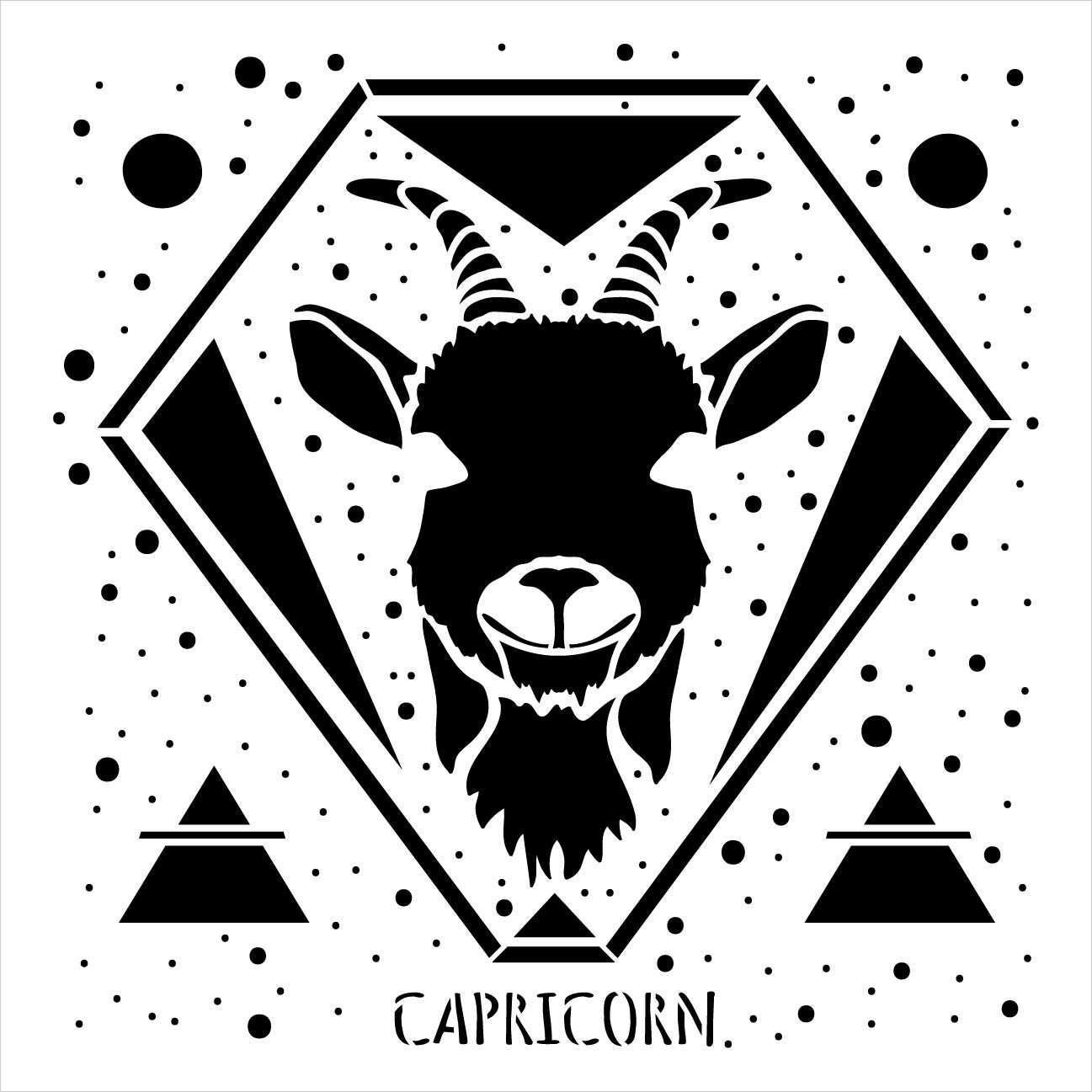 Capricorn Astrological Stencil by StudioR12 | DIY Star Sign Celestial Bedroom & Home Decor | Paint Zodiac Wood Signs | Select Size