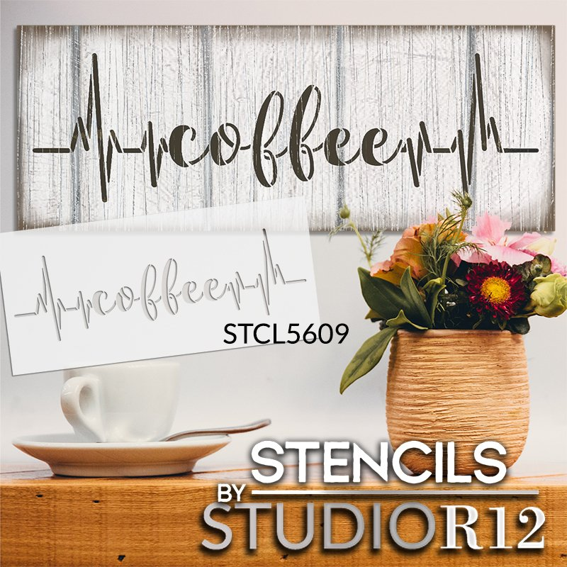 Coffee Heartbeat Stencil by StudioR12 | DIY Kitchen & Coffee Bar Home Decor | Lifeline Word Art | Paint Wood Signs | Select Size