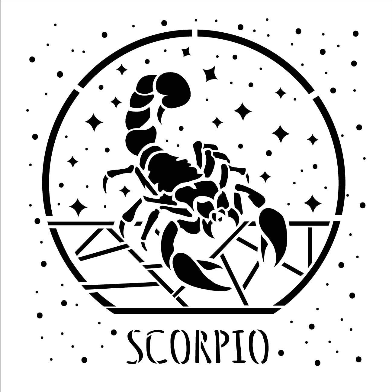 Scorpio Zodiac Stencil by StudioR12 | DIY Star Sign Celestial Bedroom & Home Decor | Craft & Paint Astrology Wood Signs | Select Size