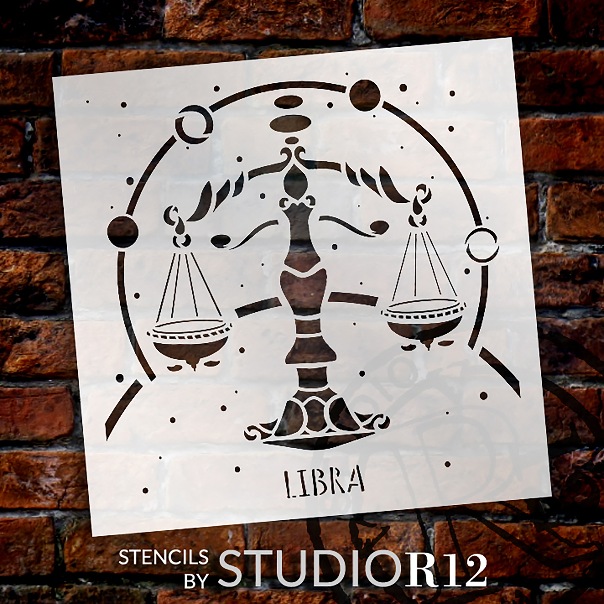 Libra Astrological Stencil by StudioR12 | DIY Star Sign Celestial Bedroom & Home Decor | Craft & Paint Zodiac Wood Signs | Select Size