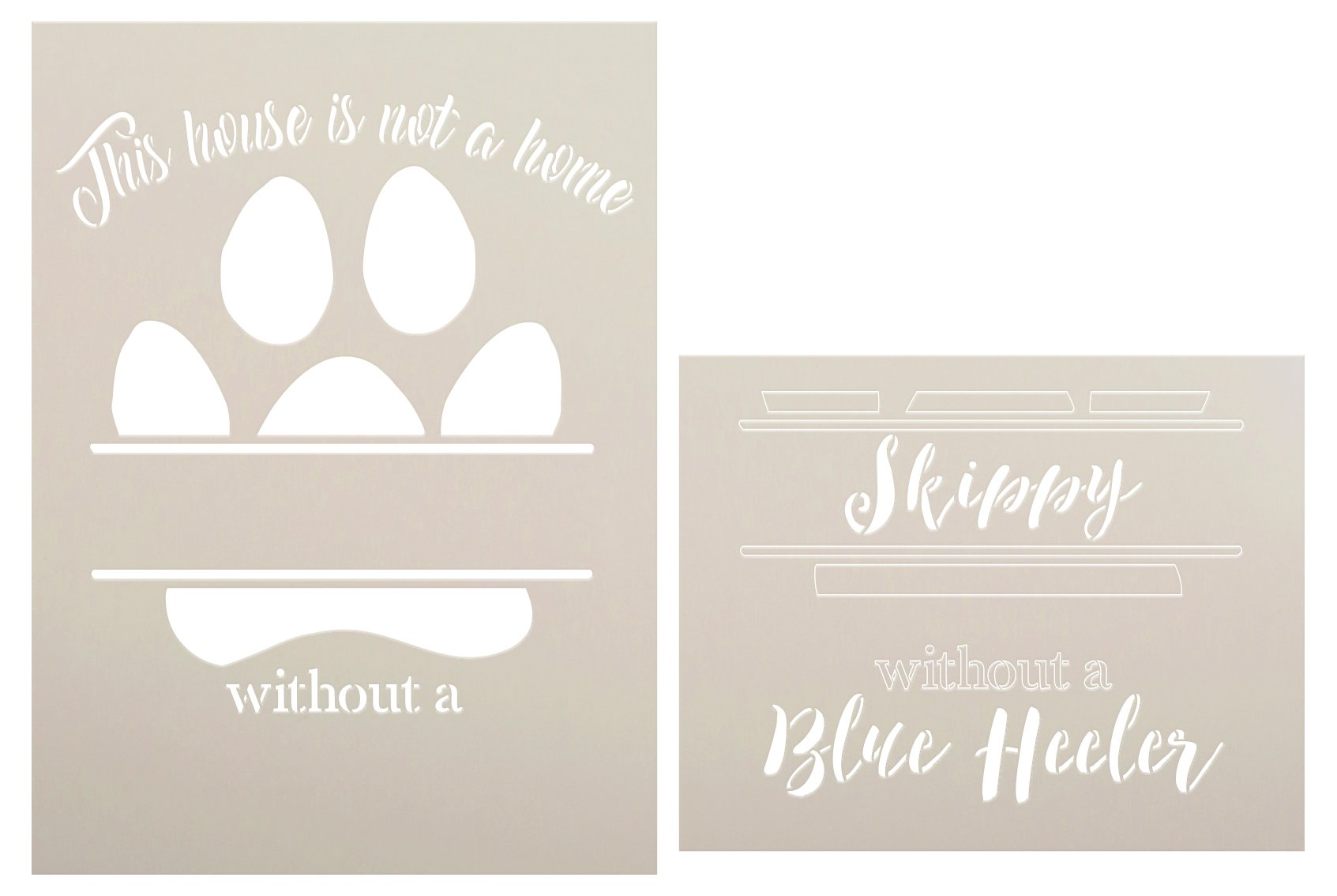 Personalized House is Not A Home 2-Part Stencil with Paw Print by StudioR12 | Custom Pet Name & Dog Breed | DIY Home Decor | Size