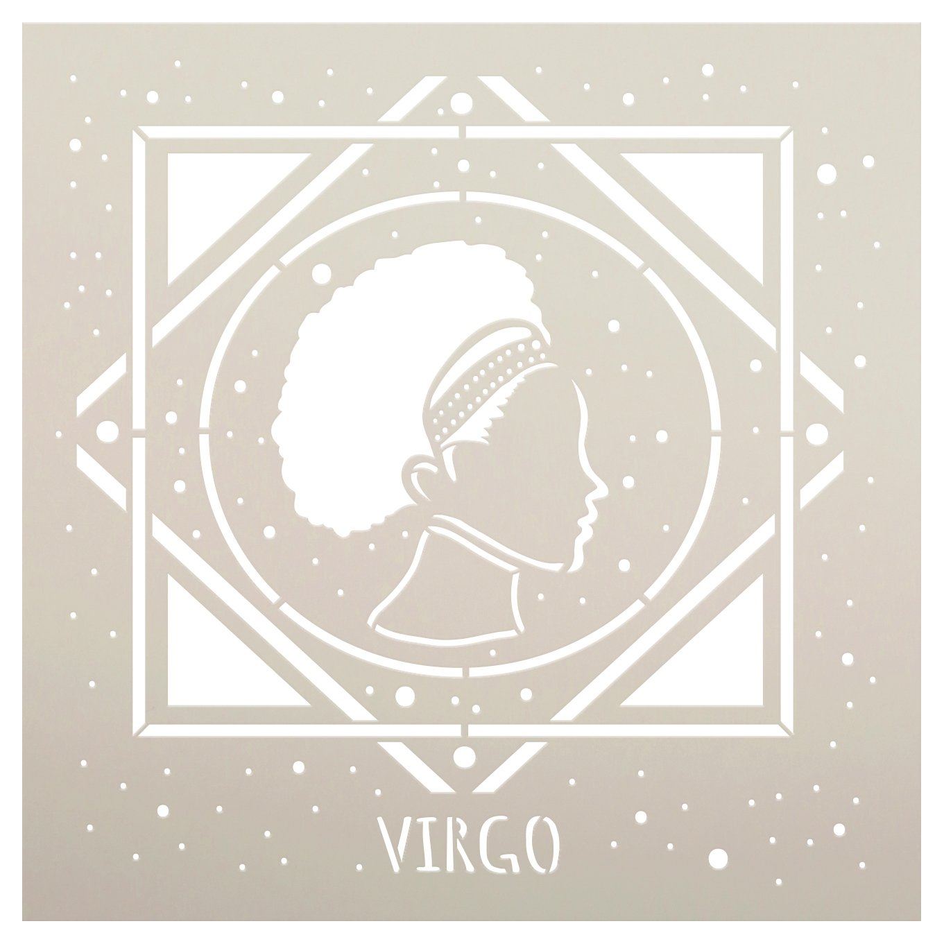 Virgo Zodiac Stencil by StudioR12   DIY Star Sign Celestial Bedroom & Home Decor   Craft & Paint Astrological Wood Signs   Select Size