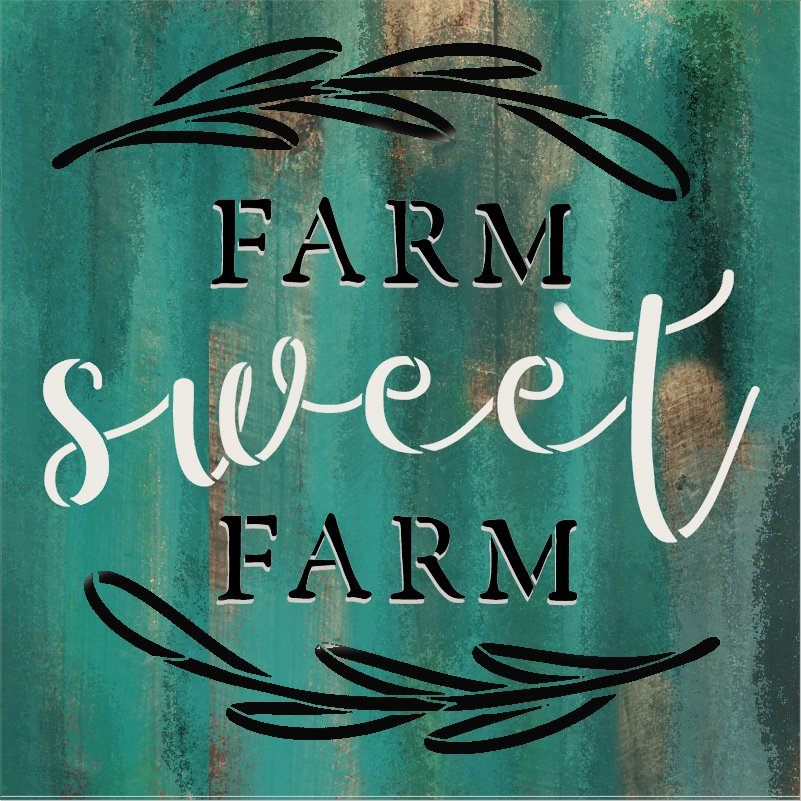 Farm Sweet Farm Stencil with Laurels by StudioR12   DIY Country Farmhouse Home Decor   Craft & Paint Rustic Wood Signs   Select Size