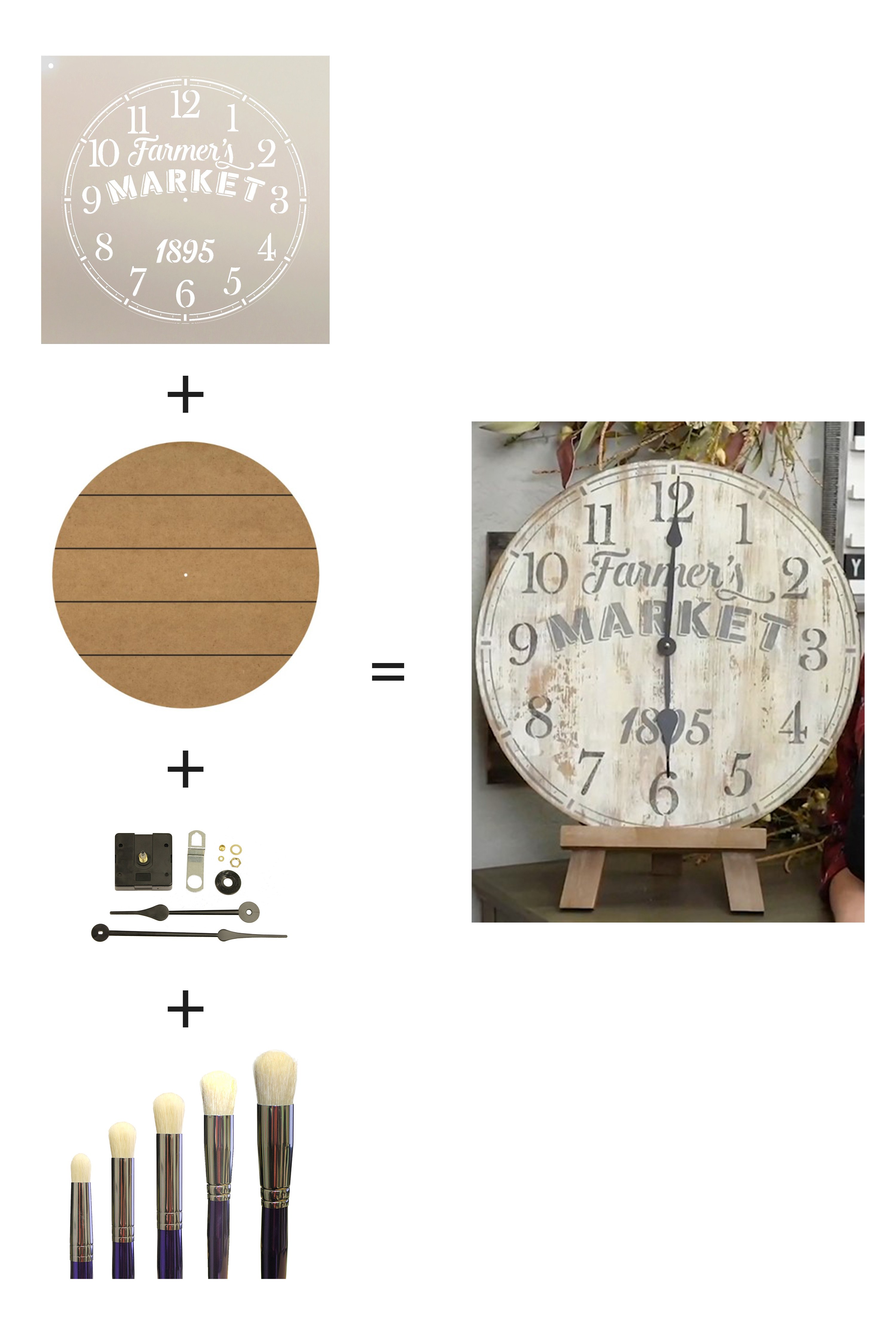 """Tick Tock Clock Deluxe Project Set with Slatted Surface 18"""" Clock"""