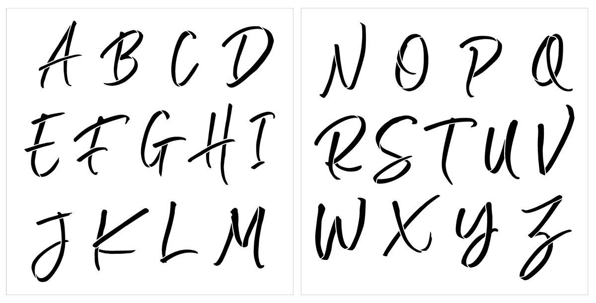 Chalk Script Alphabet Stencil Set by StudioR12   DIY Monogram Home Decor   Reusable Letter Template   Craft & Paint Wood Signs   Size 12 x 12 inches