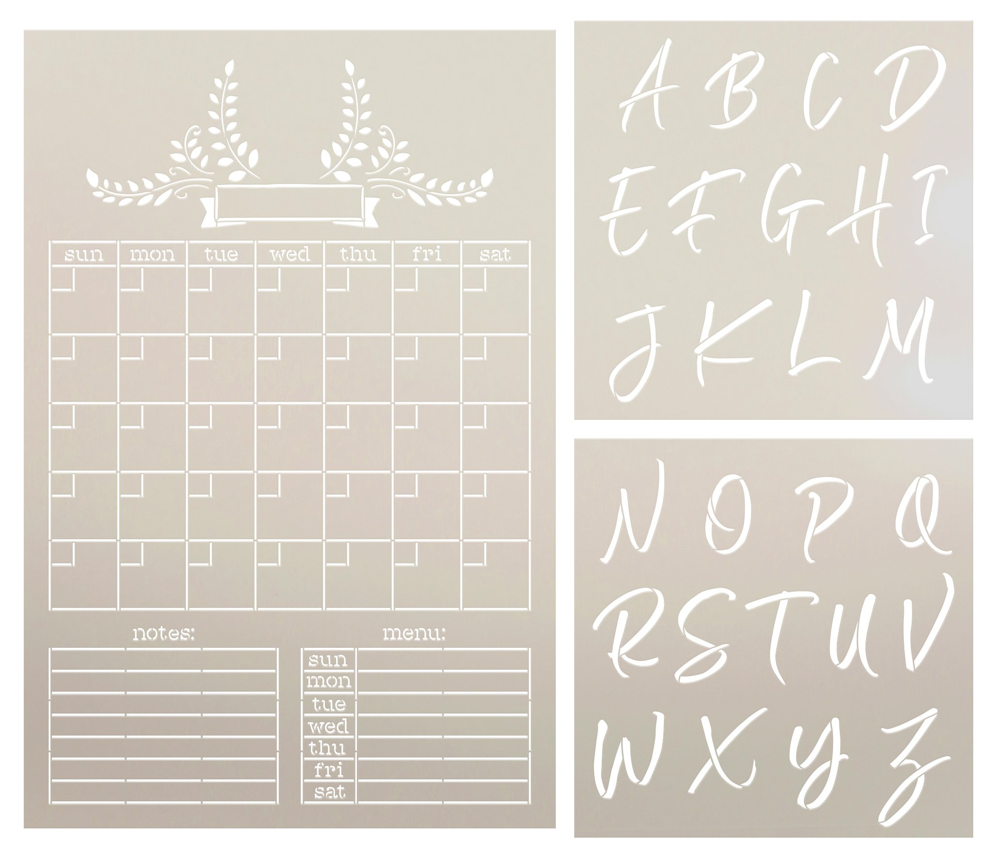 Farmhouse Chalkboard Calendar & Monogram 3-Part Stencil Set by StudioR12 | DIY Home & Kitchen Decor | Craft & Paint Wood Signs | Size