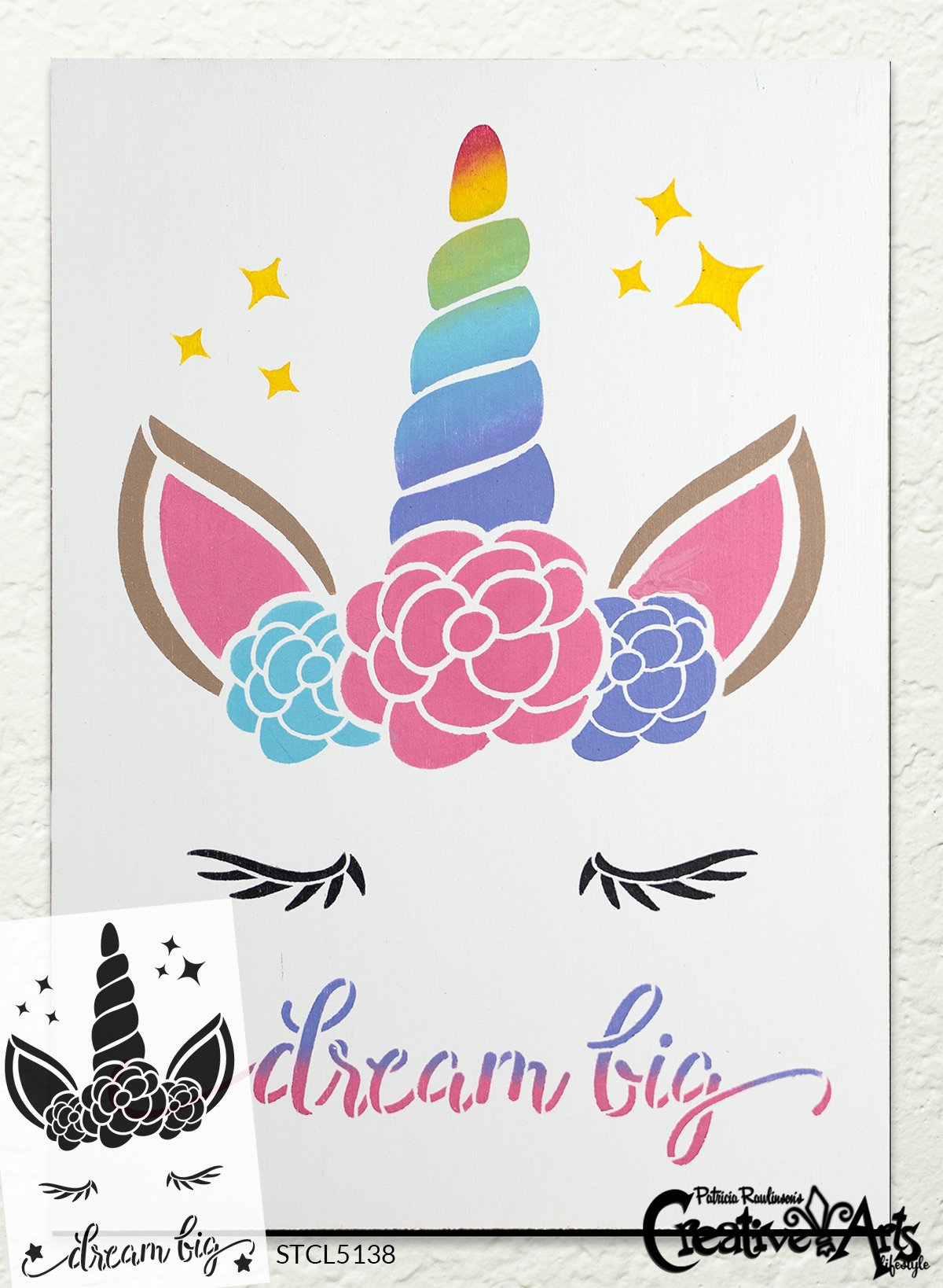 Dream Big Stencil with Unicorn & Stars by StudioR12 | DIY Children's Bedroom & Nursery Home Decor | Paint Wood Signs | Select Size
