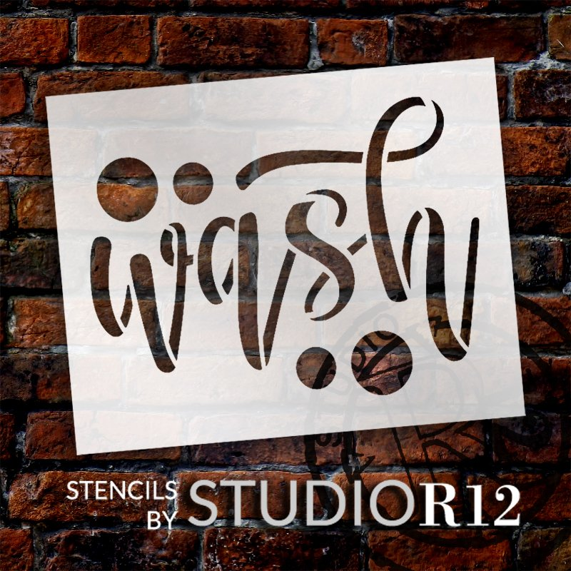 Wash Script Stencil with Bubbles by StudioR12 | DIY Home & Bathroom Decor | Craft & Paint Simple Farmhouse Wood Signs | Select Size