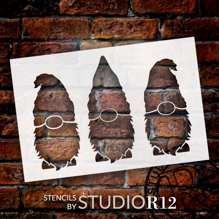 Three Gnomes Stencil by StudioR12 | DIY Seasonal Farmhouse Home Decor | Reusable Gnome Template | Crafting & Painting | Select Size