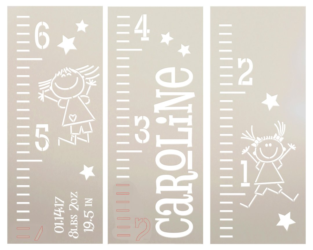Personalized Girl Growth Chart Ruler 3-Part Stencil by StudioR12 | DIY Bedroom & Nursery Wall Decor | Craft & Paint Tall Wood Signs | Size (6 ft)