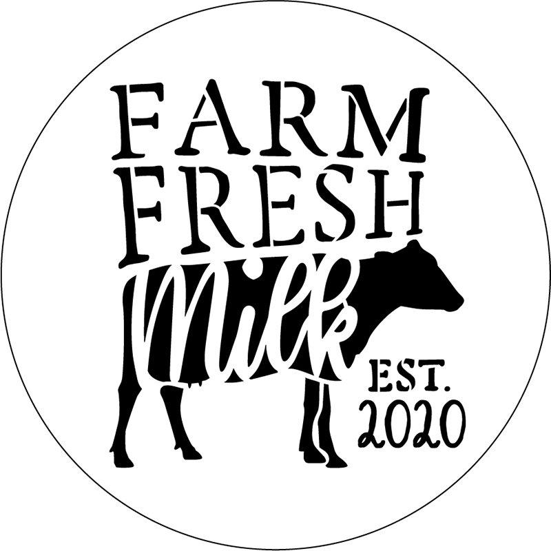 Personalized Farm Fresh Milk Round Stencil by StudioR12 | DIY Farmhouse Home Decor | Custom Est. Date | Paint Wood Signs | Select Size