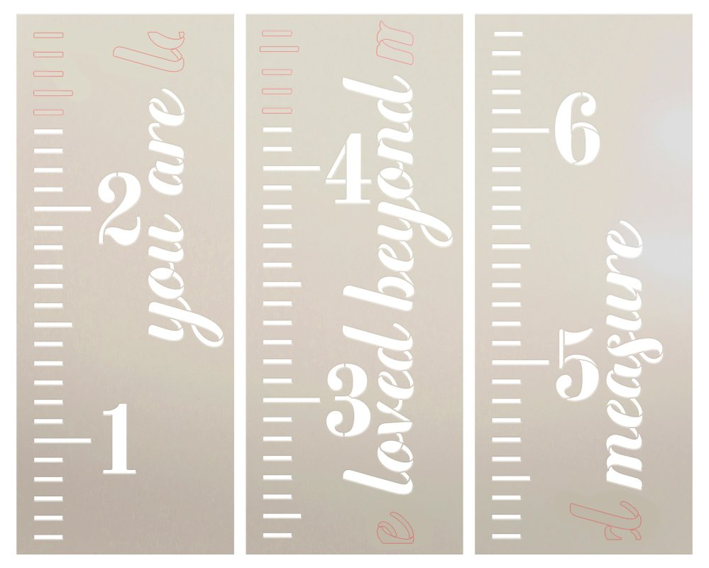 You are Loved Beyond Measure 3 Part Stencil by StudioR12 | DIY Kid Bedroom & Nursery Growth Chart Decor | Craft & Paint Ruler Wood Signs | 6 ft