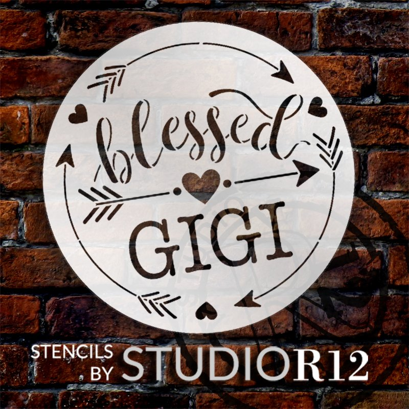 Personalized Blessed Grandmother Stencil with Hearts by StudioR12 | Custom Grandma Name | DIY Home Decor | Paint Wood Signs | Select Size