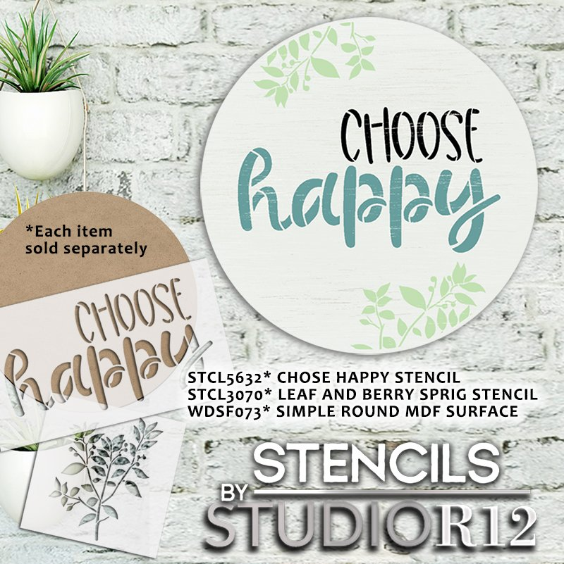 Choose Happy Script Stencil by StudioR12   DIY Inspirational Home Decor   Craft & Paint Positive Quote Wood Signs   Select Size