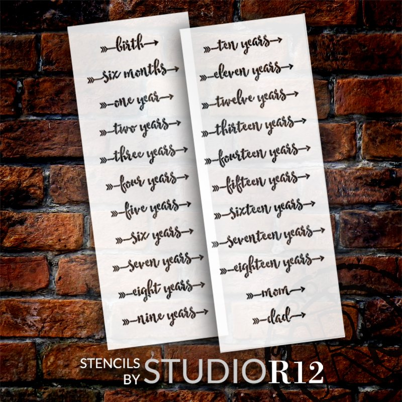 Script Growth Chart Markers with Arrows 2 Part Stencil by StudioR12 | DIY Child Bedroom & Nursery Decor | Paint Wood Ruler Signs | Size