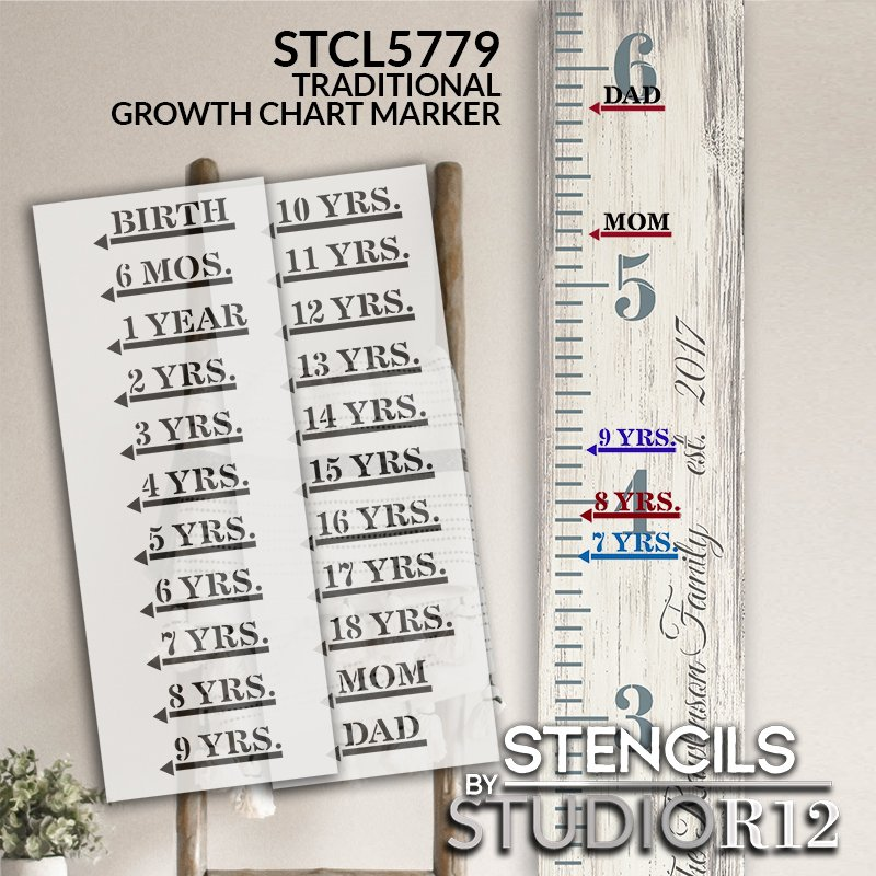 Traditional Growth Chart Markers with Arrow Stencils by StudioR12   DIY Child Bedroom & Nursery Decor   Paint Wood Ruler Signs   Size