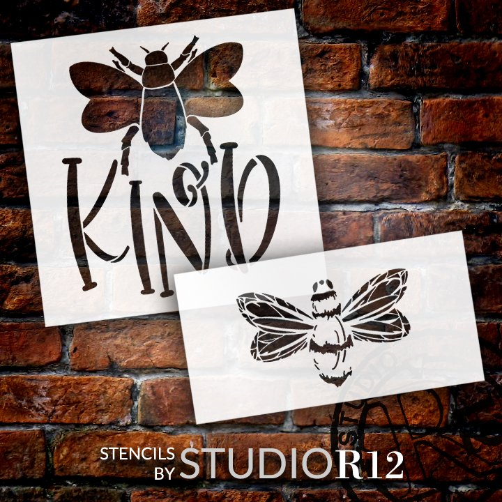 Be Kind 2 Part Stencil with Bee by StudioR12 | DIY Farmhouse Inspirational Home Decor | Craft & Paint Spring Wood Signs | Select Size