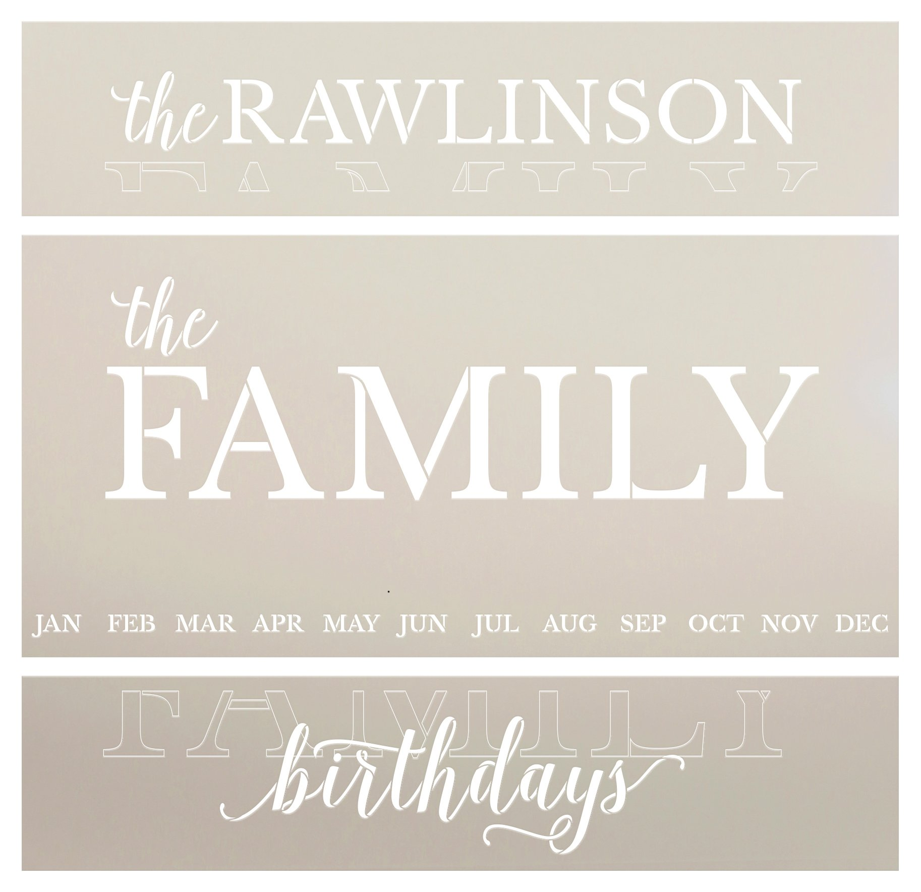 Personalized Family Birthday Calendar Stencil by StudioR12 | Custom Last Name | DIY Farmhouse Home Decor | Craft & Paint Wood Signs | Size (27 x 13 inch)